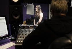 Talisa recording vocals